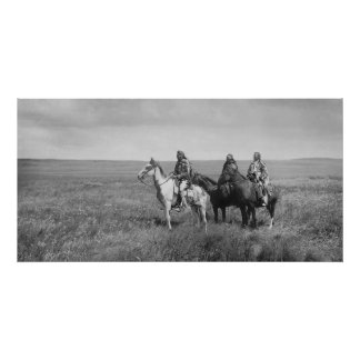 Tres nativos americanos de los Blackfeet de Piegan Póster