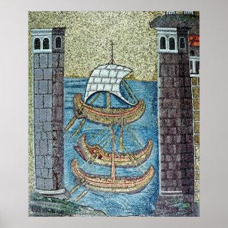 Tres naves que entran en el puerto de Ravena Póster