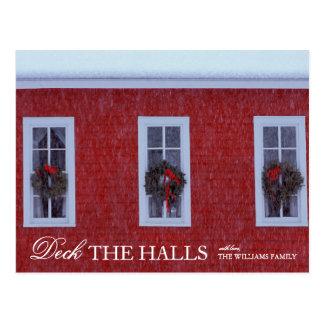 Tres navidad enrruella en ventanas de la escuela tarjetas postales