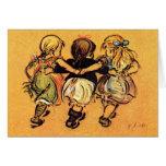 Tres niñas - mejores amigos - tarjeta de felicitac