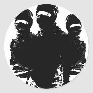 tres ninjas. classic round sticker