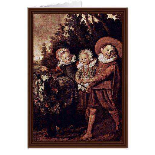 Tres niños con la cabra y el carro de Hals Francis Tarjeta De Felicitación