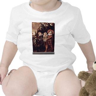 Tres niños con la cabra y el carro de Hals Traje De Bebé
