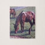 Tres nuevos caballos del bosque en hierba puzzle