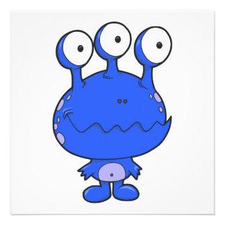 tres observaron el azul feliz del monstruo comunicados personalizados
