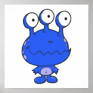 tres observaron el azul feliz del monstruo poster
