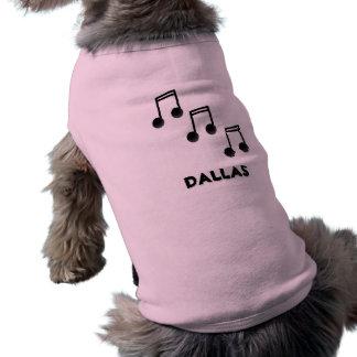 Tres octavas notas del negro, notas de la música playera sin mangas para perro