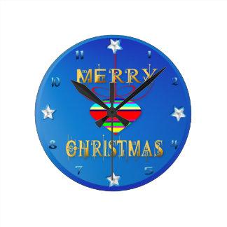 Tres ornamentos de las Felices Navidad Reloj Redondo Mediano
