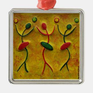 Tres ornamentos de metal del día de fiesta de Art_ Adorno