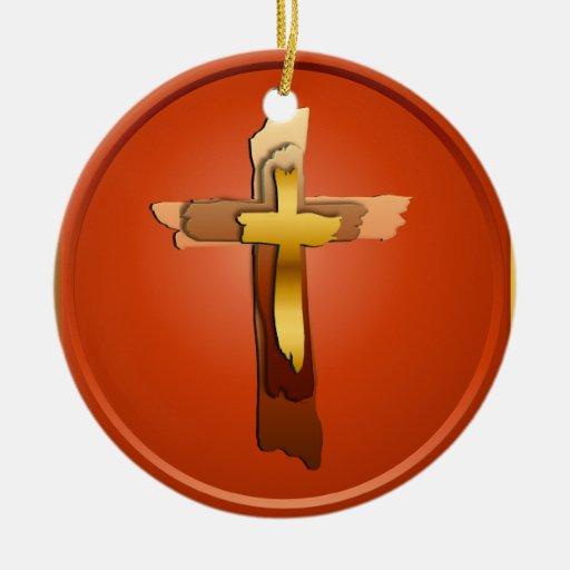 Tres ornamentos rústicos de las cruces adorno navideño redondo de cerámica