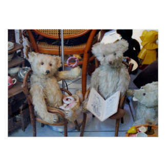 Tres osos de peluche felices poster