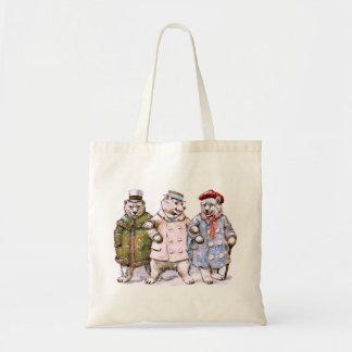 Tres osos polares encantadores bolsa tela barata