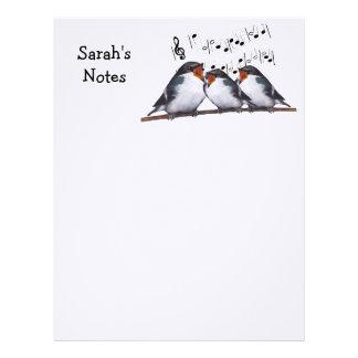 Tres pájaros del canto: Notas: Personalice: Arte Plantilla De Membrete