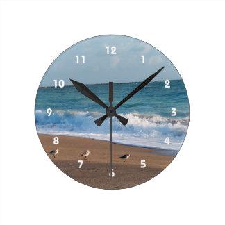 tres pájaros en la playa de la Florida de la foto Reloj Redondo Mediano