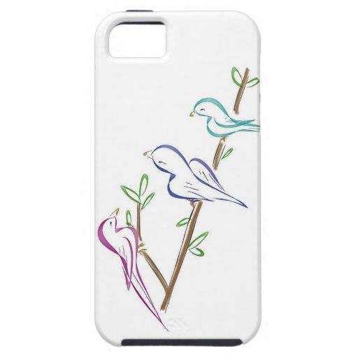 Tres pájaros que se sientan en una rama iPhone 5 cobertura