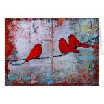 Tres pájaros rojos en un alambre Notecard