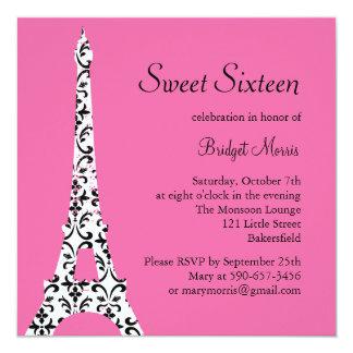 Tres Paris Birthday Invitation (fuchsia)