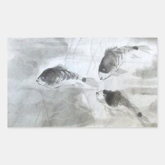 Tres pegatinas de la acuarela de los pescados de rectangular pegatina
