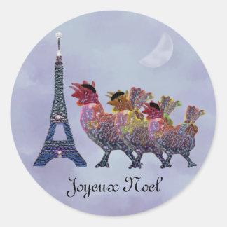 Tres pegatinas franceses de las gallinas etiquetas redondas