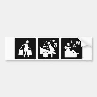 Tres pequeñas imágenes - mujeres 11 pegatina de parachoque