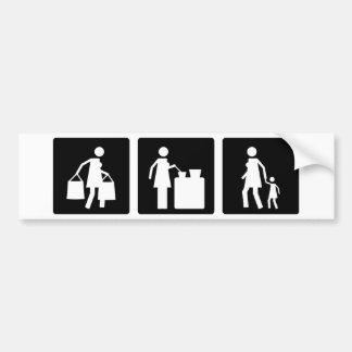 Tres pequeñas imágenes - mujeres 8 pegatina de parachoque