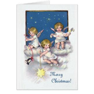 Tres pequeños ángeles tarjeta de felicitación