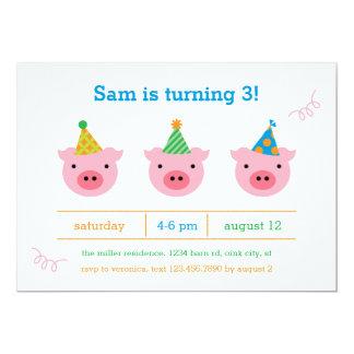 """Tres pequeños cerdos invitación 5"""" x 7"""""""