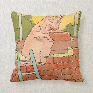 Tres pequeños cerdos: Ladrillos para construir una Cojín