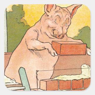 Tres pequeños cerdos: Ladrillos para construir una Pegatina Cuadrada