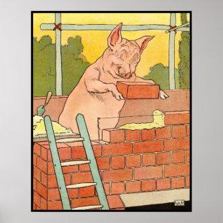 Tres pequeños cerdos: Ladrillos para construir una Póster