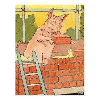 Tres pequeños cerdos: Ladrillos para construir una Postales