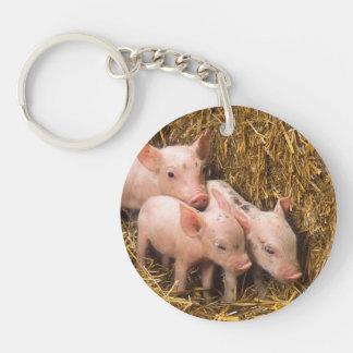Tres pequeños cerdos llavero redondo acrílico a una cara