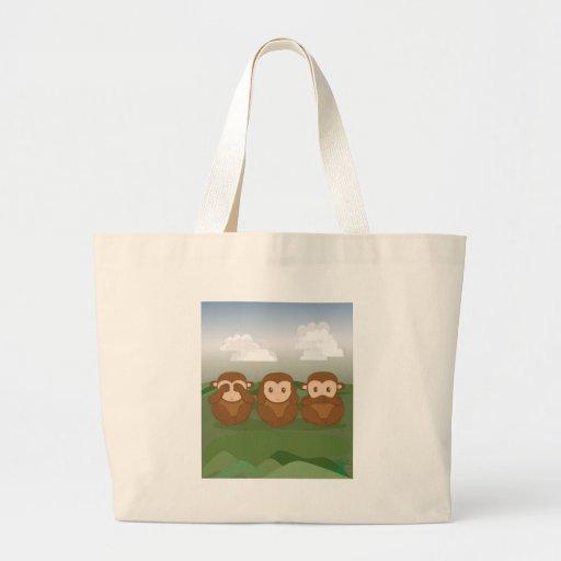 Tres pequeños monos bolsa lienzo