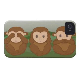 Tres pequeños monos iPhone 4 Case-Mate funda