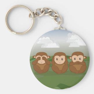 Tres pequeños monos llavero redondo tipo pin