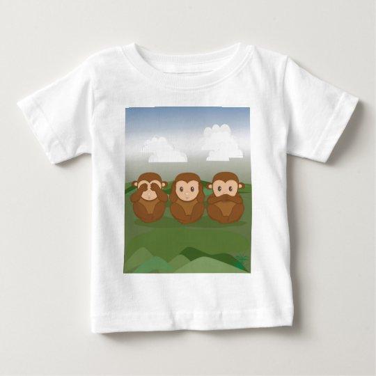 Tres pequeños monos playera de bebé