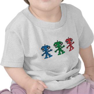 Tres pequeños robots camiseta