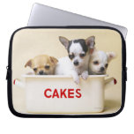 Tres perritos de la chihuahua en lata de la torta funda ordendadores