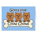 Tres perros chinos de perro chino felicitacion
