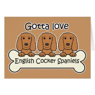 Tres perros de aguas de cocker ingleses tarjeta pequeña