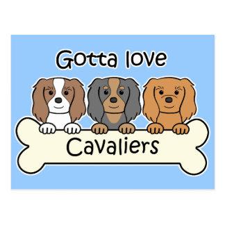 Tres perros de aguas de rey Charles arrogantes Postal