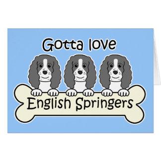 Tres perros de aguas de saltador inglés tarjetón