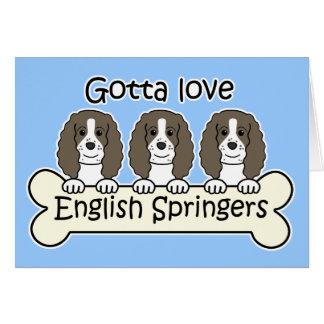 Tres perros de aguas de saltador inglés tarjetas