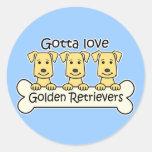 Tres perros perdigueros de oro etiqueta redonda