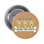 Tres perros perdigueros de oro pin