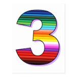 Tres - Personalice para los cumpleaños, las edades Tarjetas Postales