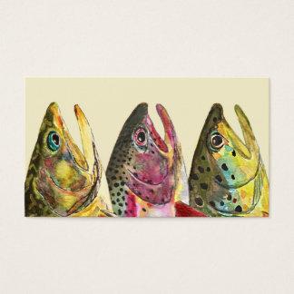 Tres pescadores de la trucha tarjetas de visita