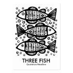 Tres pescados - blanco tarjetas de visita grandes