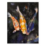 Tres pescados de Koi Postales