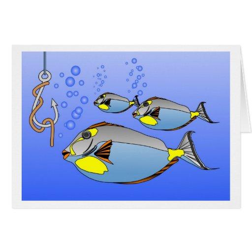 tres pescados. gancho del gusano y de pescados tarjetón